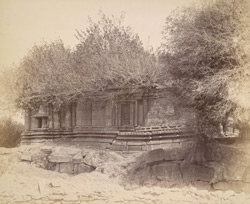 Rear view of a ''small but very old temple, elaborately ornamented'', Degaon